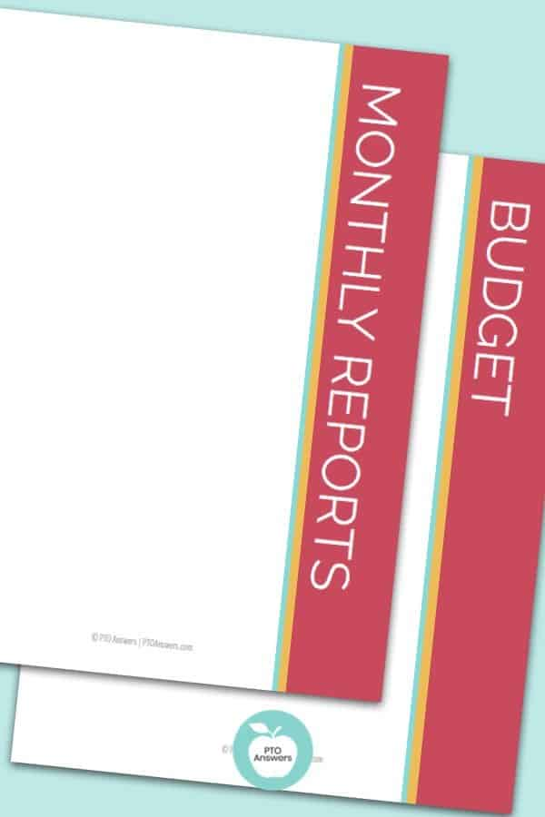 treasurers binder divider pages