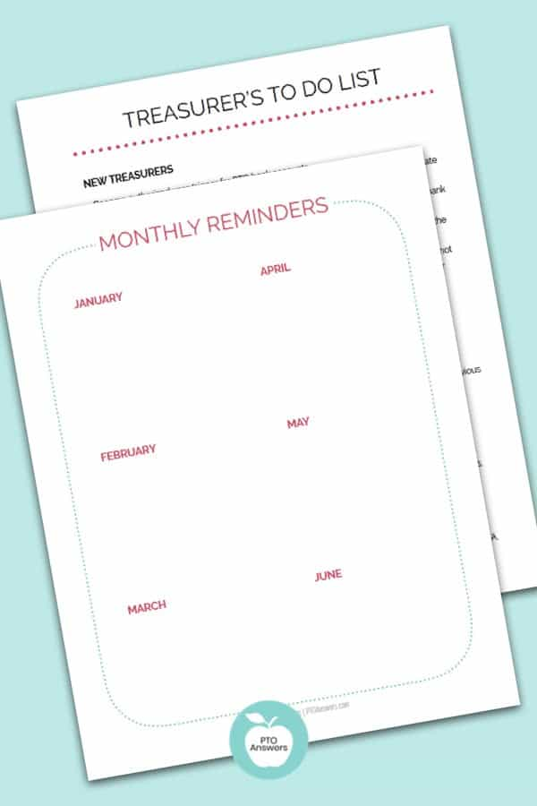 Printable Treasurer Planner With Treasurer To DO List and Monthly Reminders