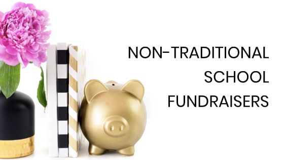 school fundraising ideas for PTOs with gold piggy bank and books