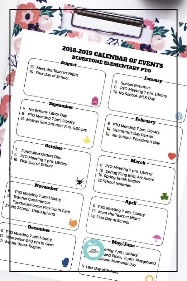 PTO calendar template to publicize PTO family events and fundraisers. Plan out your entire year to work towards your PTA's goals for a successful year! #ptoanswers #pto #pta #planning