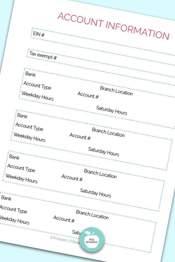 Printable Treasurer Forms including Bank Account Tracker to manage money and PTO finances