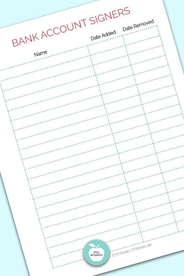 Printable Treasurer Forms including Bank Account Signer Tracker to manage money and PTO finances
