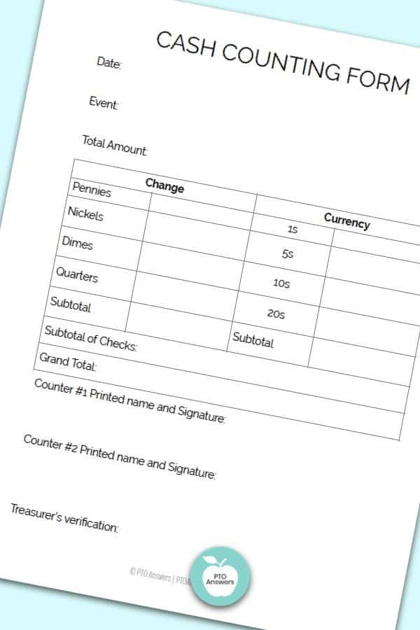 Printable Treasurer Forms including cash counting form to manage money and PTO finances