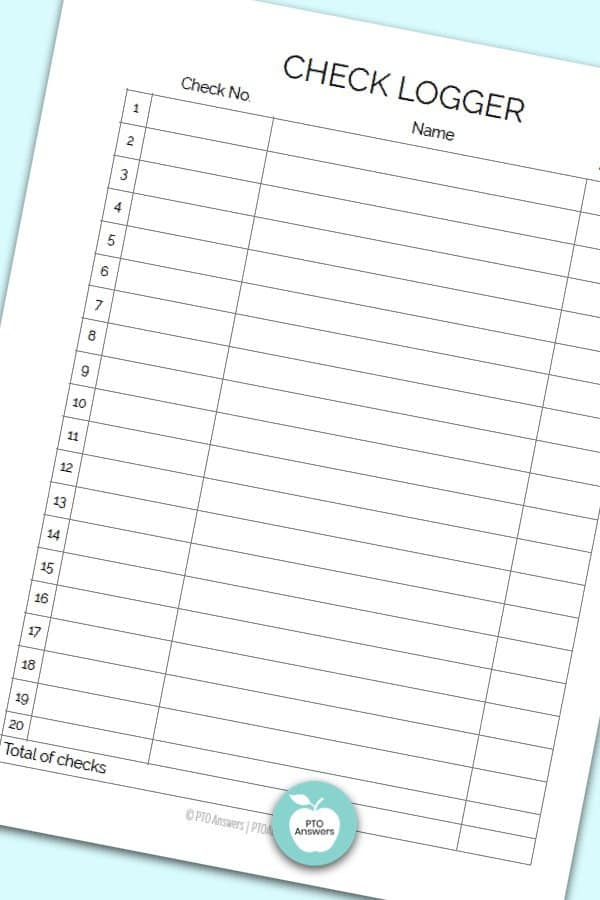 Printable Treasurer Forms including check logger form to manage money and PTO finances