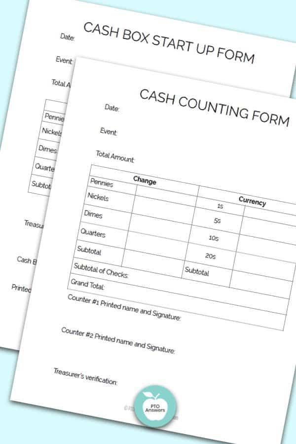 Printable Treasurer Forms including Cash box start up form and cash counting form to manage money and PTO finances