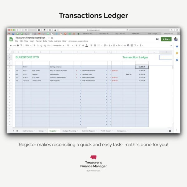 pto finance manager transaction ledger
