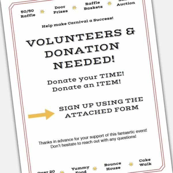 Printable custom DIY Carnival Flyer Template and volunteer and donations form
