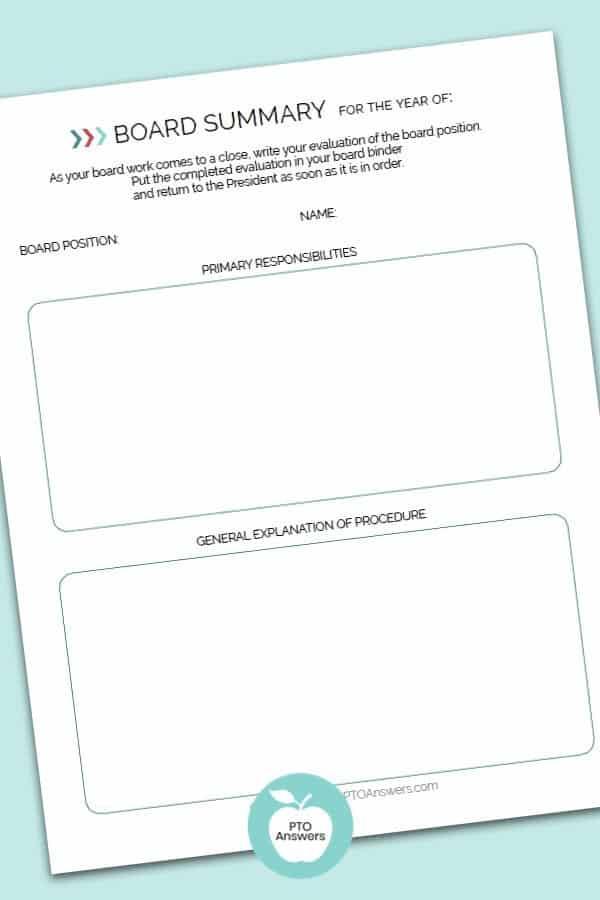 PTO Board Year End Summary Form