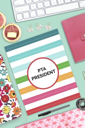 The fastest way to get organized as a PTO President. All the forms, trackers and templates you'll need for a stress-free and super successful term as President! This essential PTA President's Planner comes chock full of not only the structure to keep you organized but also the guidance you crave! Perfect for all PTO Presidents!